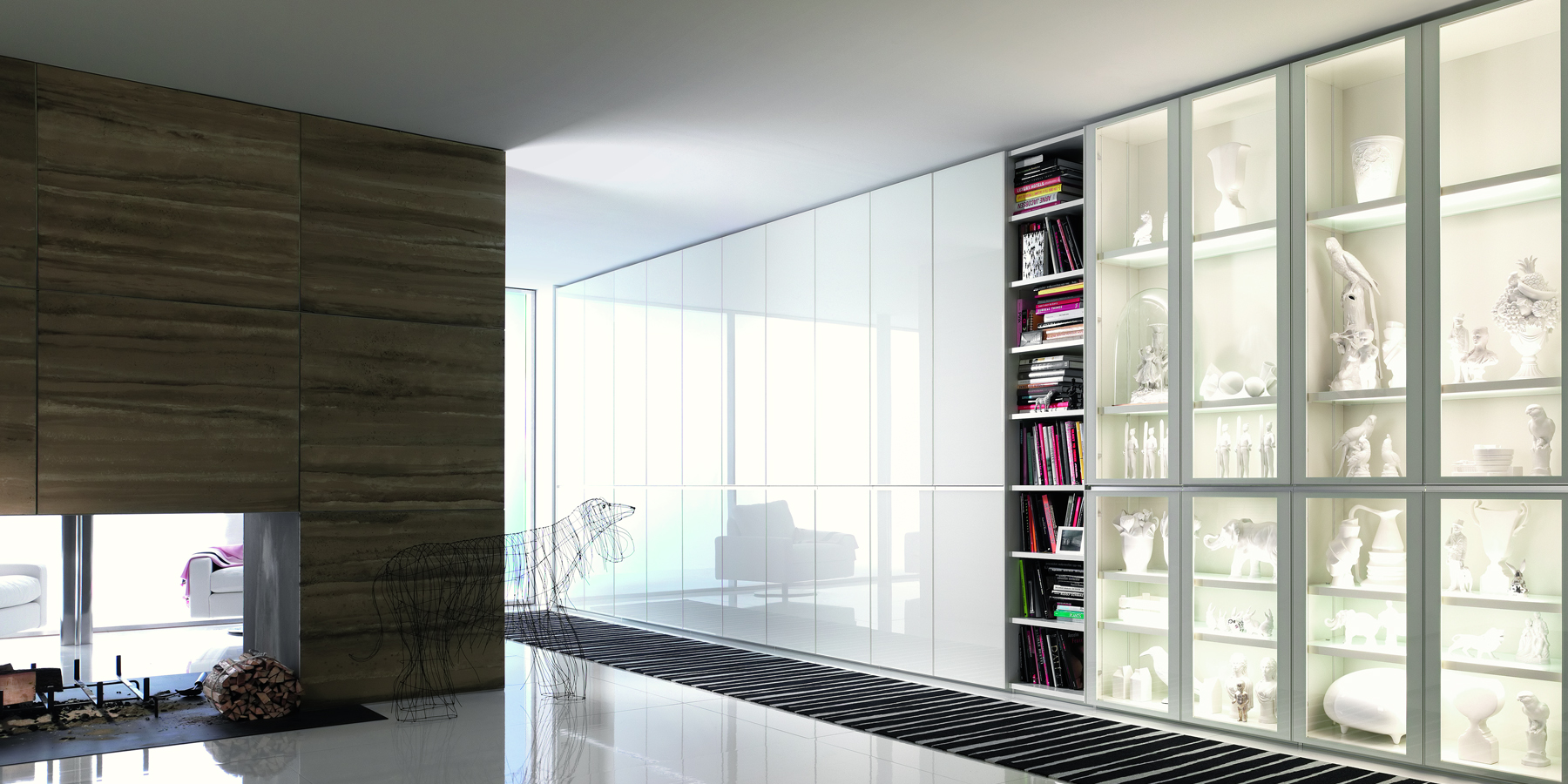 Wall unit with glass fronts