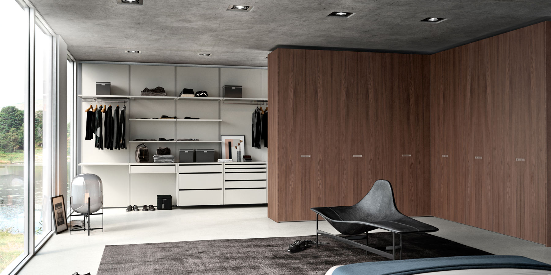 Walk-in wardrobe with open and closed areas