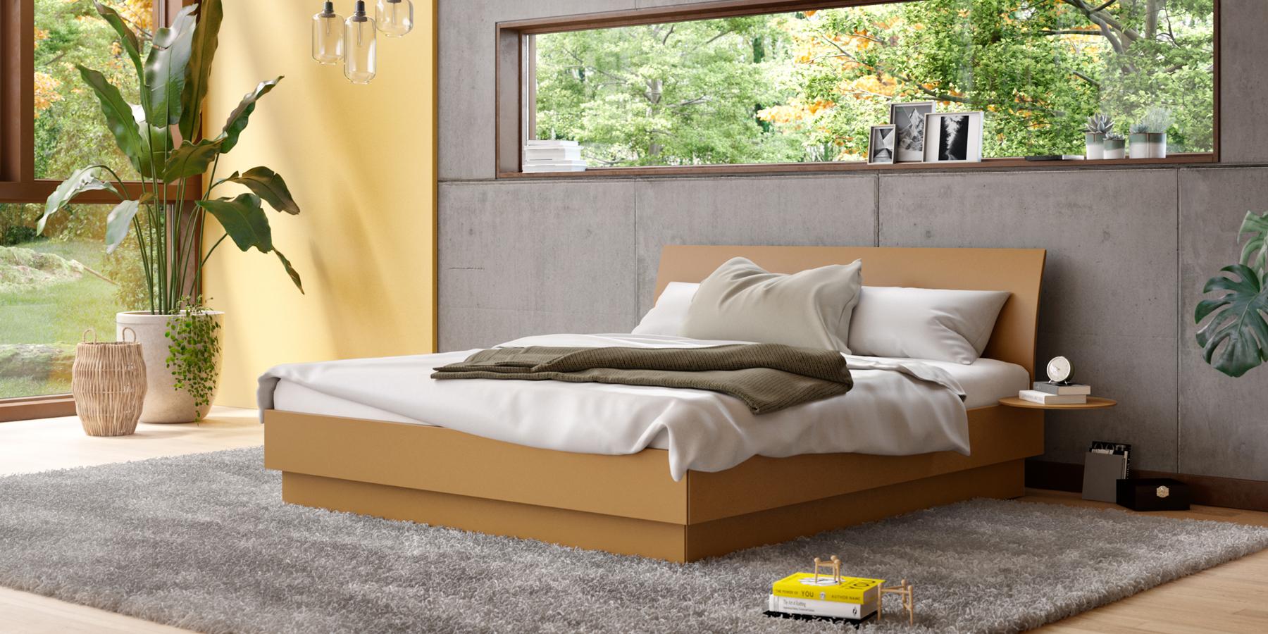 Bett mit niedrig gewölbtem Kopfteil