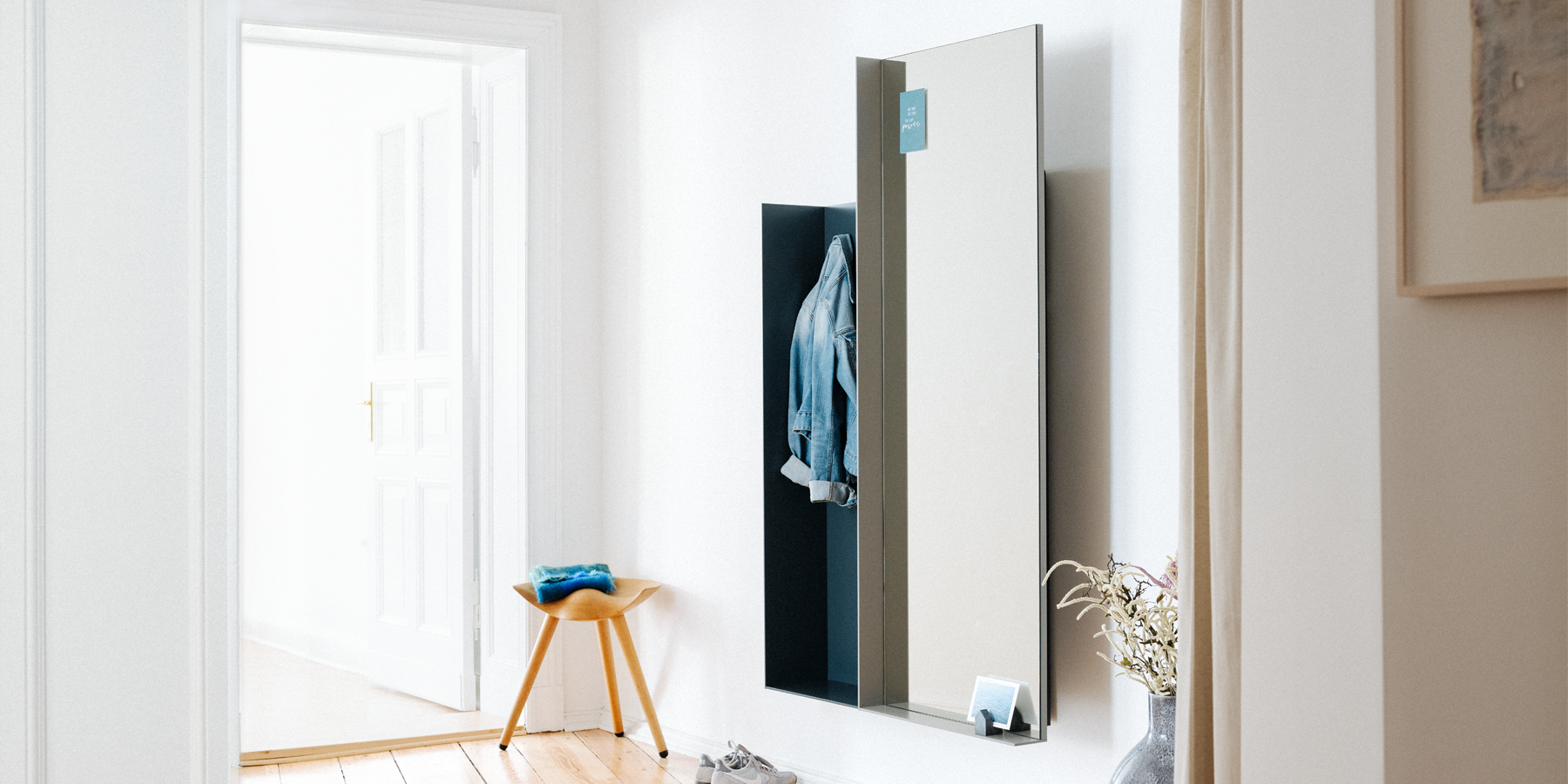 adjustable mirror with panel shelf and wardrobe