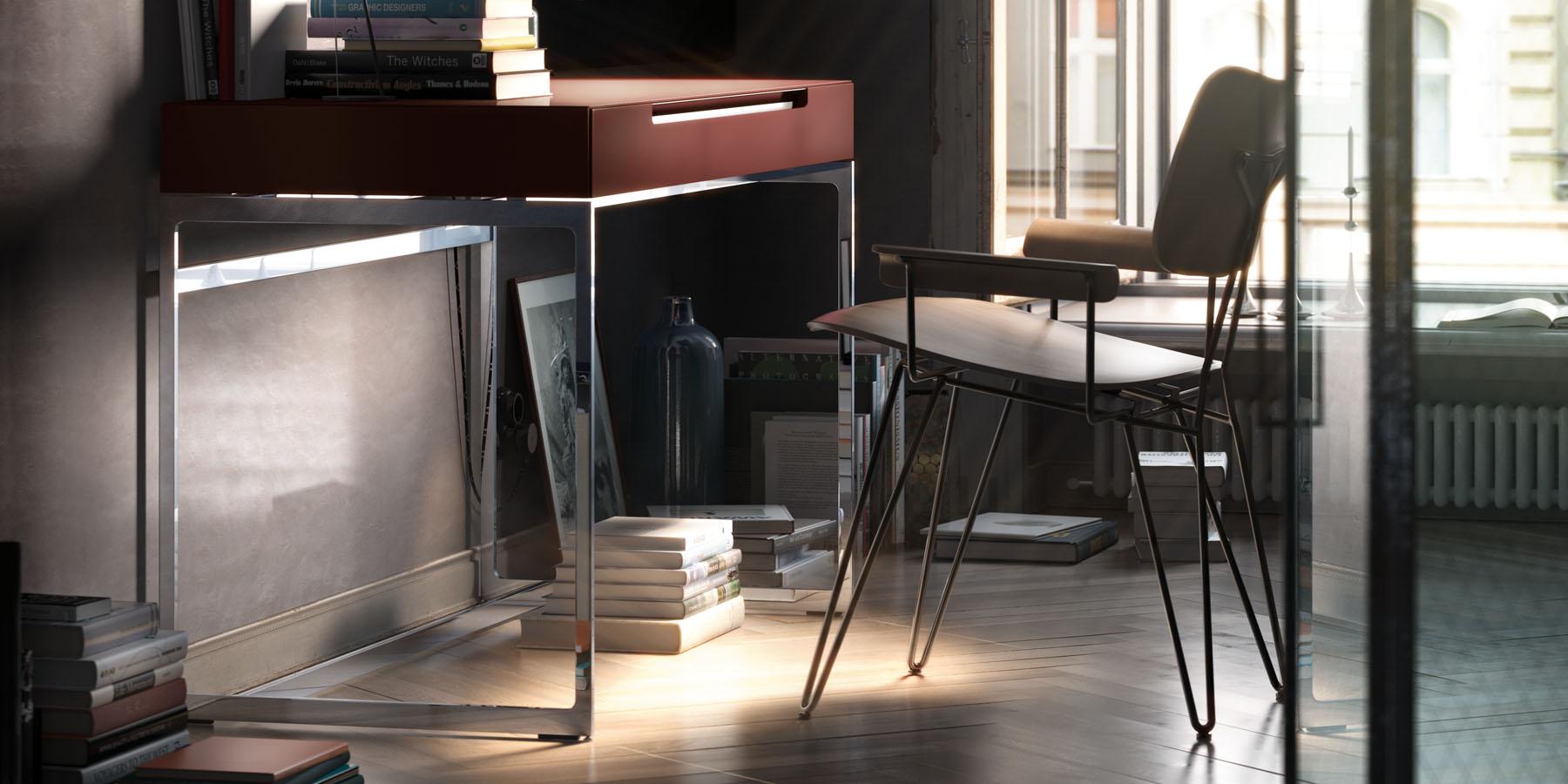 Eleganter Schreibtisch mit integriertem Kabelmanagement
